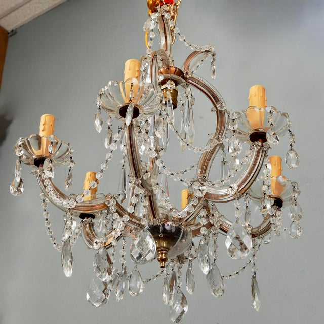 French Small French Seven Light Maria Theresa Crystal Chandelier For Sale - Image 3 of 6