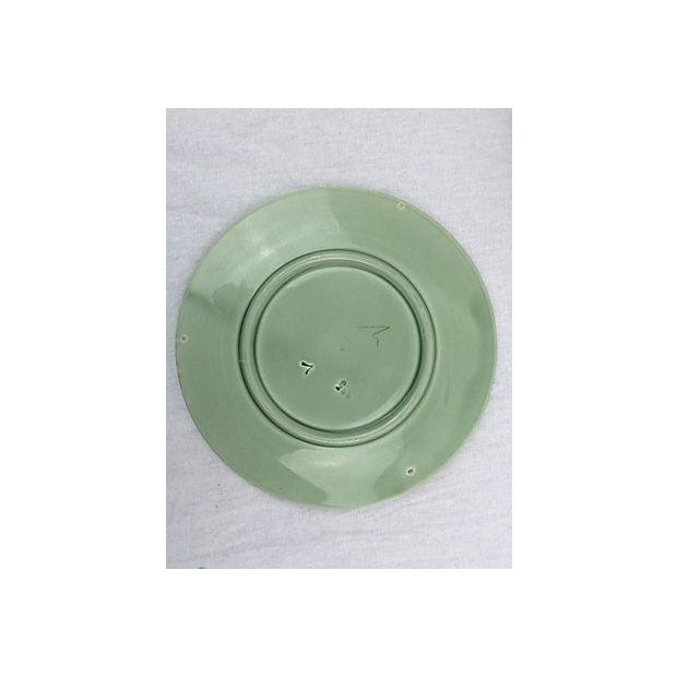 Majolica Green Flower Plates - Set of 6 - Image 3 of 3