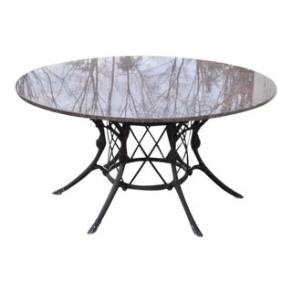 Molla Outdoor Black Painted Aluminum and Red Granite Circular Dining Table For Sale