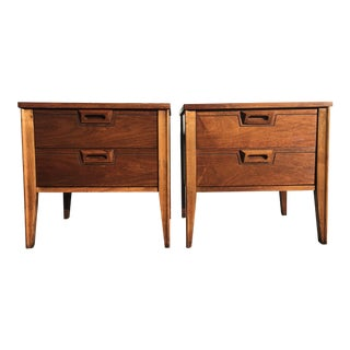 Mid-Century Nightstands With Sculpted Pulls - A Pair