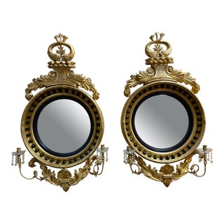 Regency Giltwood Convex or Bullseye Mirrors - a Pair For Sale