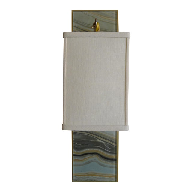 Modern Brass and Marbleized Wall Sconce V2 by Paul Marra - Image 1 of 8