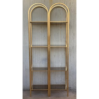 MId Century Pair of Brass Shelves O Etageres With Smoked Glass Preview