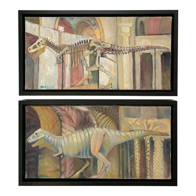 Frank deLoach Dinosaur Oil Paintings - A Pair For Sale