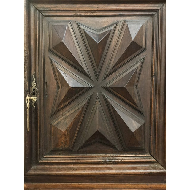 19th century French Louis XIII sacristy or wine cabinet. One drawer, one cabinet door, side handles. Solid walnut...