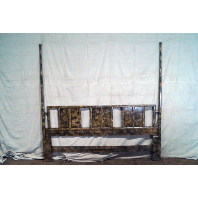 Henredon Mid Century Faux Tortoise Shell Painted King Size Poster Headboard - Image 9 of 10