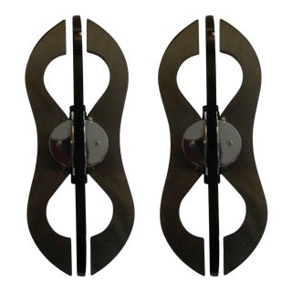 1960's Italian Mid-Century Smoked Glass Sconces-A Pair For Sale