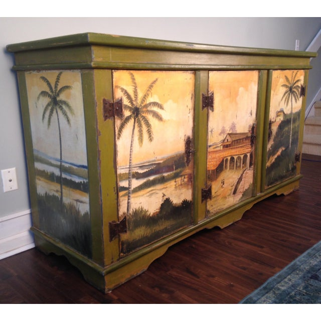 Artiero Brazil Tropical Palm Tree Hand-Painted Credenza Cabinet - Image 3 of 10