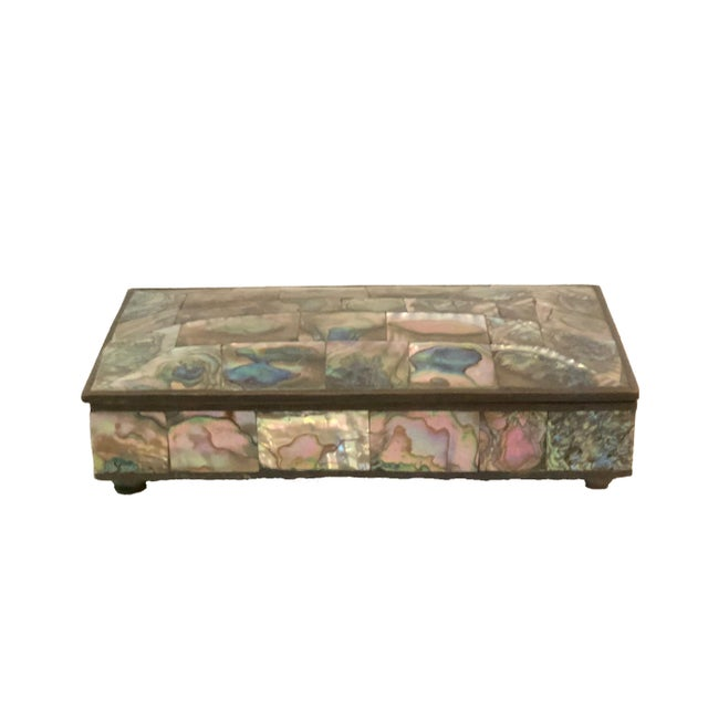 Vintage Mid-Century Domed Abalone Box For Sale - Image 4 of 7
