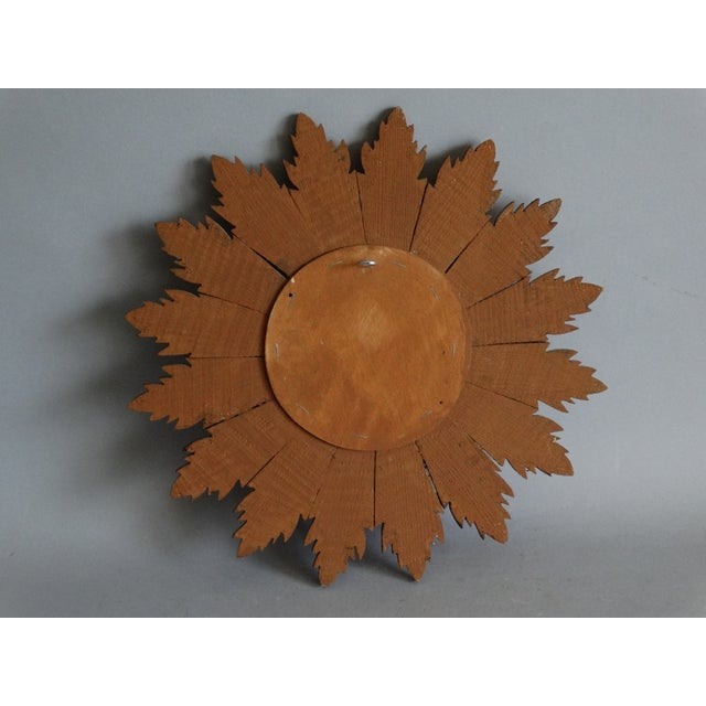 Glass French Carved Gilt Wood Sunburst Mirror For Sale - Image 7 of 9