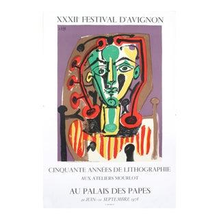 """Pablo Picasso Palais Des Papes, Tete De Femme 29.75"""" X 20"""" Lithograph 1978 Cubism Multicolor Woman, Face For Sale"""