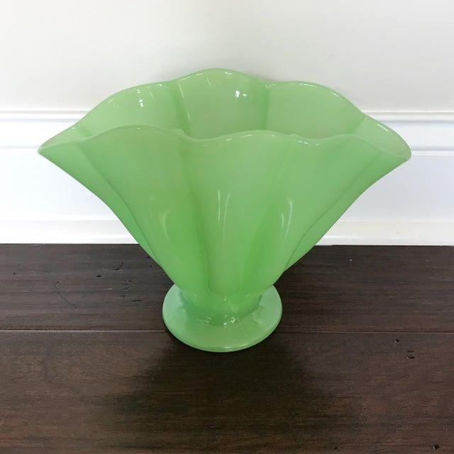 Fenton Jadeite Ruffled Fan Vase Chairish