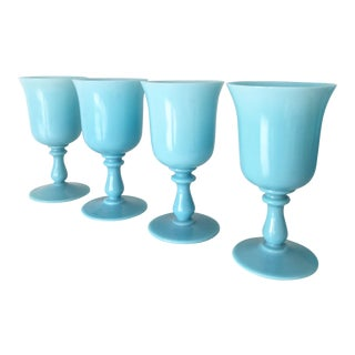 1900s French Portieux Vallerysthal Blue Opaline Chalices - Set of 4