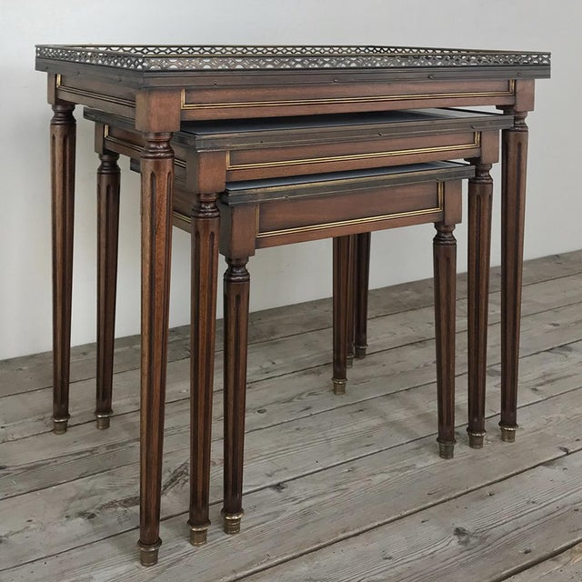 Set of Antique Directoire Marble Top Nesting Tables For Sale In Dallas - Image 6 of 13