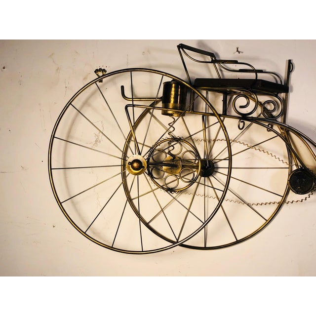 "Large scale Curtis Jere bicycle wall sculpture, signed 1986. Measures 45"" long by 23"" high, 5"" depth. Composed of brass..."