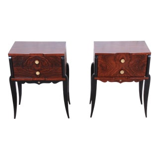 1930s French Art Deco Rosewood Nightstands, Newly Restored - a Pair For Sale