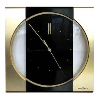 1970s Vintage Howard Miller Art Deco Gold Wall Clock For Sale