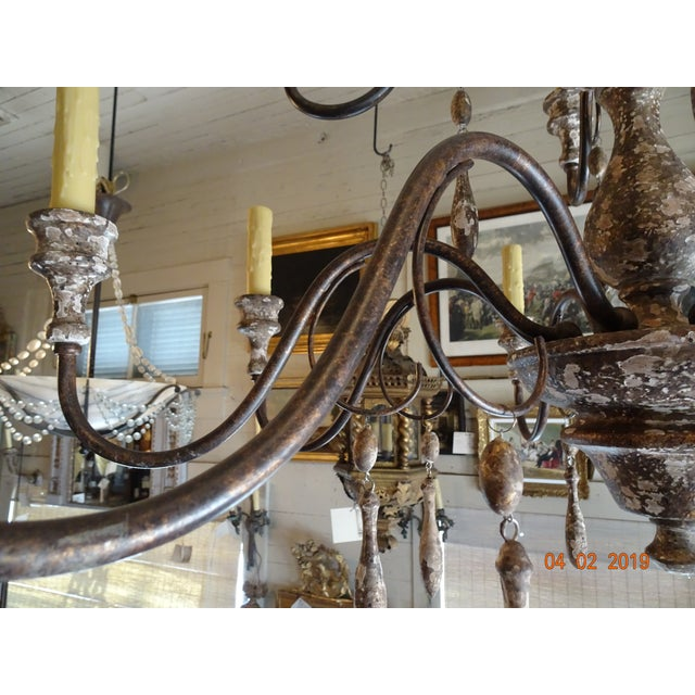 Italian Vintage Italian Wood & Iron Chandelier For Sale - Image 3 of 13