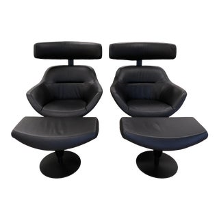 Cassina Jean-Marie Massaud Auckland Modern Lounge Chairs & Ottomans- a Pair For Sale