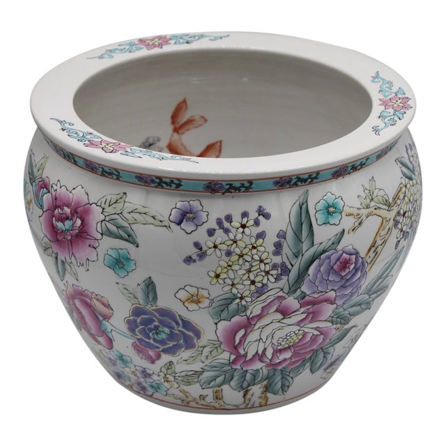 Large Chinese Porcelain Lotus Flower Koi Fish Bowl Garden Planter For Sale