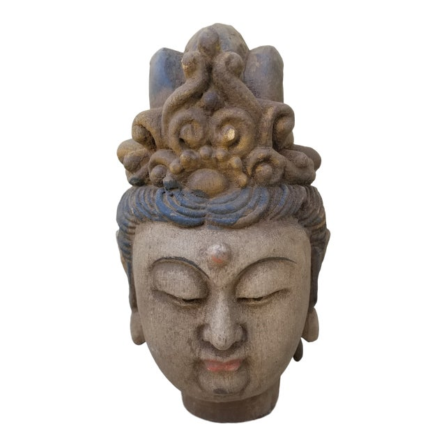 Hand Carved Quan Yin Bust For Sale