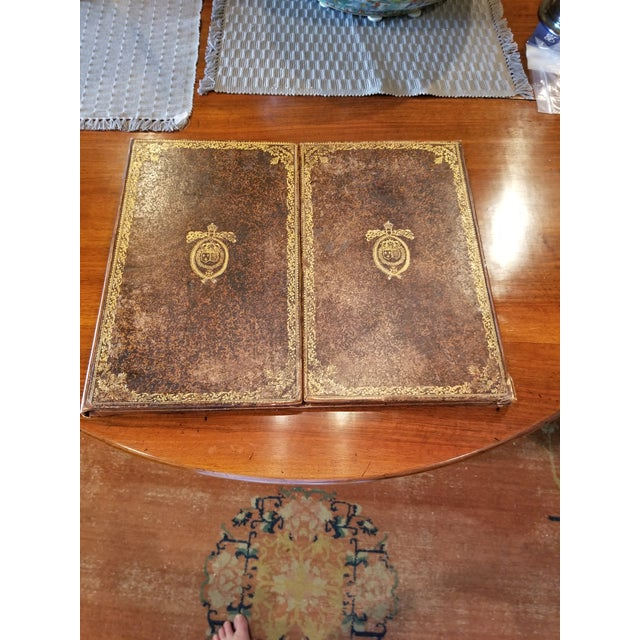 1920s Antique Gilt Leather Double Folding Blotter For Sale - Image 5 of 13