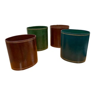 Leather Estate of Peggy & David Rockefeller Waste Baskets - Set of 4 For Sale