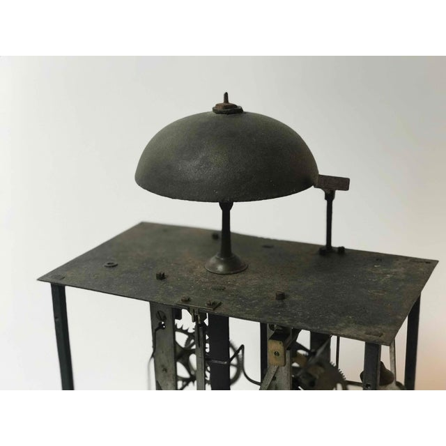 Mid-Century Modern Clock Works From 19th Century Long Case Clock Mounted on Stand as Sculpture For Sale - Image 3 of 5