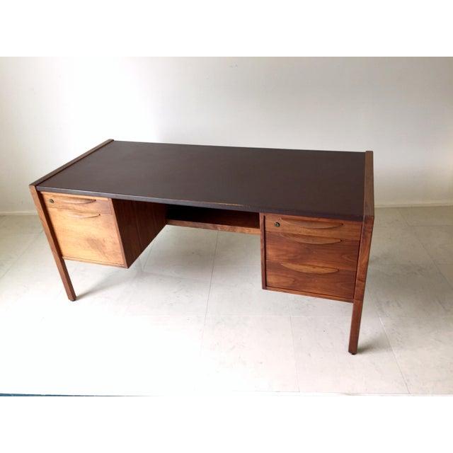 Jens Risom Leather-Topped Walnut Desk - Image 8 of 8