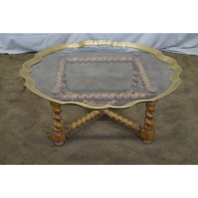 Quality Brass & Glass Tray Top Coffee Table - Image 2 of 9