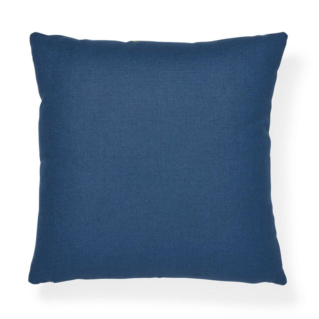 """The face of this 20"""" x 20"""" pillow features Ibiza Flamestitch in Pool paired with Piet Performance Linen in Harbor. A..."""