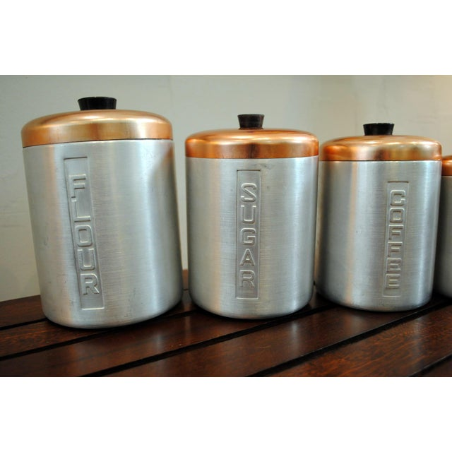 Mid-Century Modern 1950s Mid-Century Aluminum Nesting Canisters - Set of 5 For Sale - Image 3 of 6