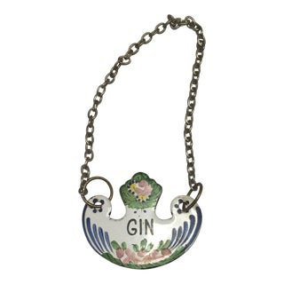 Hand Painted French Enamel Gin Label For Sale