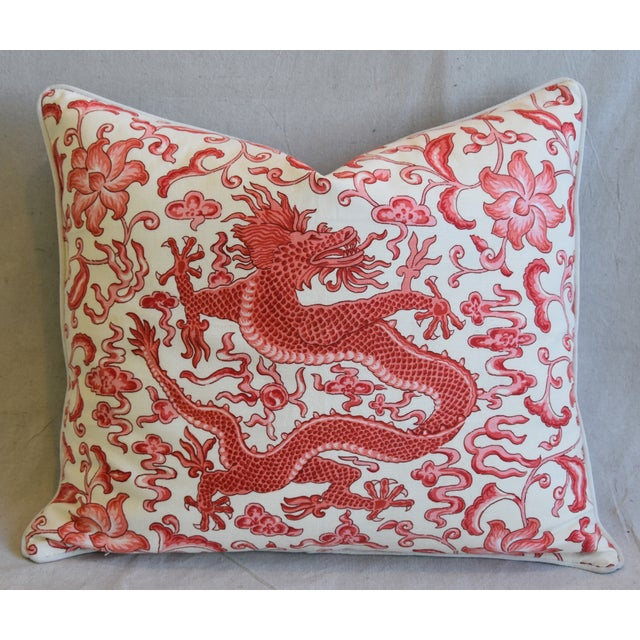 "Red Italian Chinoiserie Scalamandre Dragon Feather/Down Pillow 26"" X 22"" For Sale - Image 8 of 8"