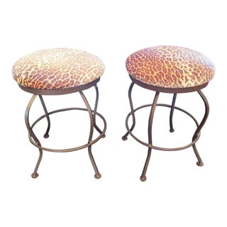 Hollywood Regency Velvet Leopard Print Upholstered Swivel Stools - a Pair For Sale