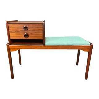 Vintage Danish Mid Century Modern Rosewood Telephone Bench/Entry Way Console For Sale