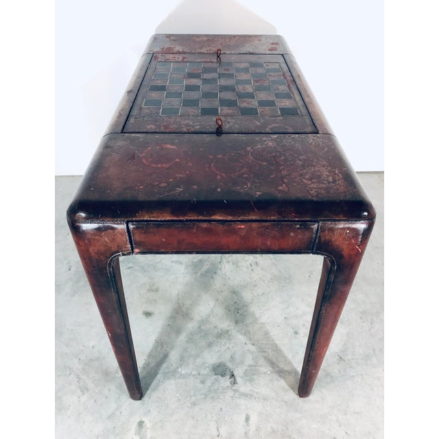 Mid-Century Modern Mid-Century Modern Maitland Smith Distressed Leather Game Table For Sale - Image 3 of 13