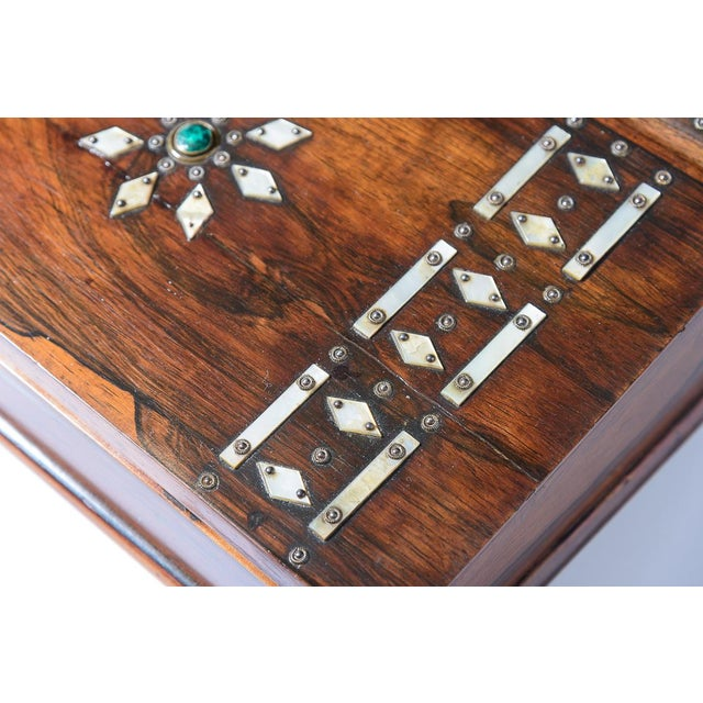 Brown Mid 19th Century Vintage Rosewood & Mother Pearl Writing Slope Box For Sale - Image 8 of 10