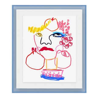 Tuttie Fruittie by Annie Naranian in Light Blue Acrylic Shadowbox, Small Art Print For Sale