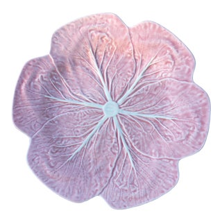 Bordallo Pinheiro Large Pink Flower Plate For Sale