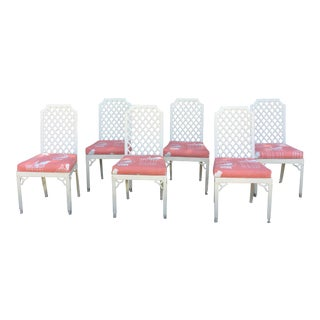 Palm Beach Lattice Back Fretwork Dining Chairs - Set of 6 For Sale