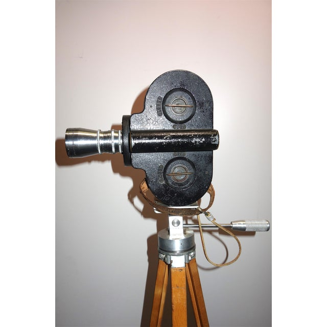 Hollywood Early 20th Century Movie Camera With Head and Wood Tripod Legs For Sale In Dallas - Image 6 of 7