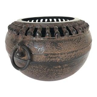 Vintage Japanese Iron Cache Pot For Sale