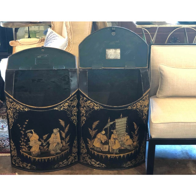Chinoiserie Tole Tea Canisters - a Pair For Sale - Image 10 of 11