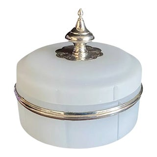 Antique Opaline Box With Hallmarked Silver Finial For Sale