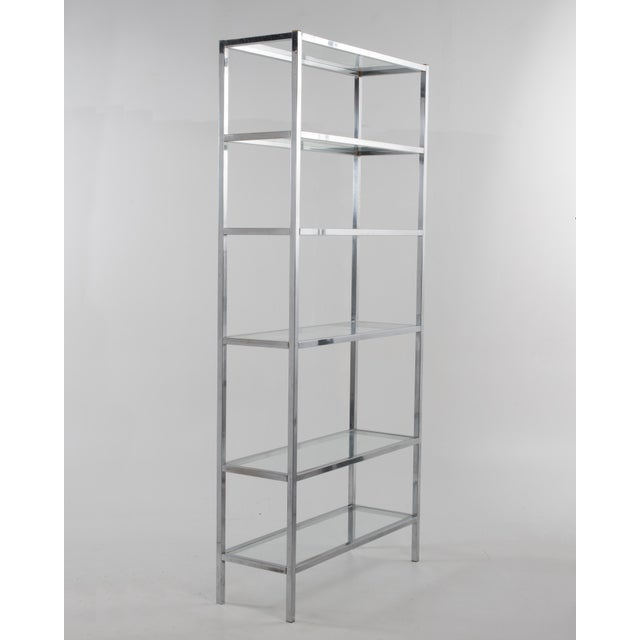 1970s Milo Baughman Style Mid-Century Chrome Glass Etagere For Sale - Image 4 of 11