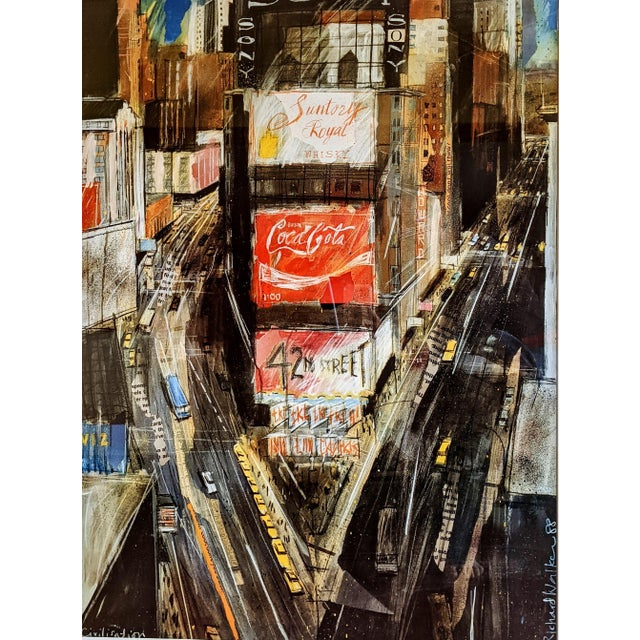 Large, abstract collage lithograph of Times Square, New York City . . . Bright, moody, edgy, restless. . . Quick strokes...