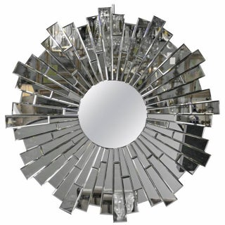 Beveled Round Sunburst Mirror For Sale