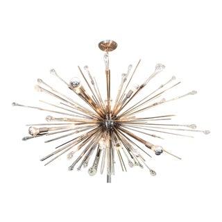 Custom Antique Brass Tear Drop Sputnik Chandelier For Sale