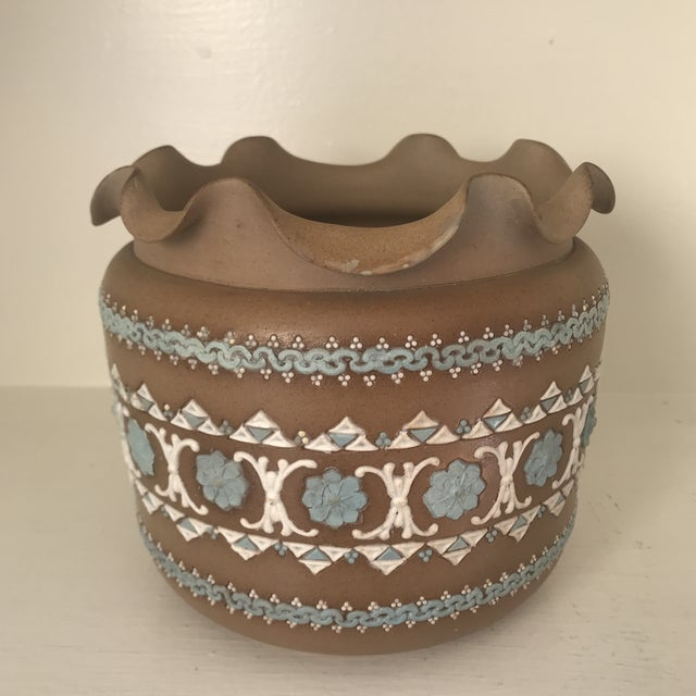 Late 19th Century 19th Century Art Nouveau Royal Doulton Silicon Ware Jardiniere For Sale - Image 5 of 13
